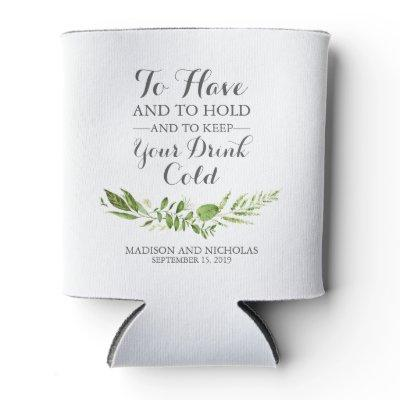 Green Leaf Wedding Can Coolers, Rustic Greenery Can Cooler