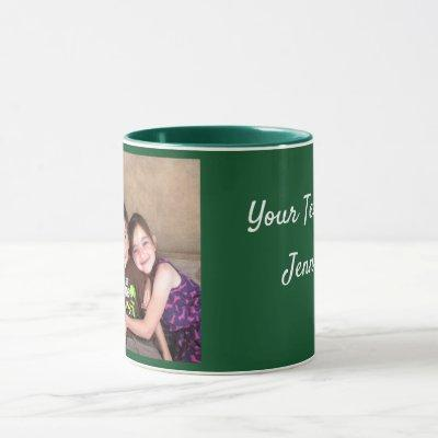 Green Personalize PHOTO TEMPLATE Gift Coffee Mug