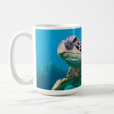 Green Sea Turtle Swimming Over Coral Reef |Hawaii Coffee Mug