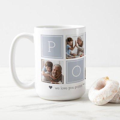 Grey | Custom Poppy 5 Photo Colorblock Collage Coffee Mug