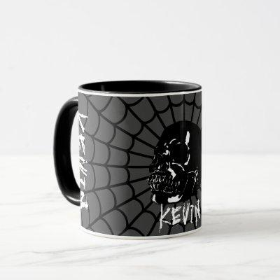 Grey Glossy Black Skull Custom Name Mug