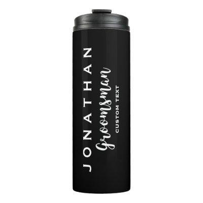 Groomsman Custom Wedding Favor Modern Monogram Thermal Tumbler