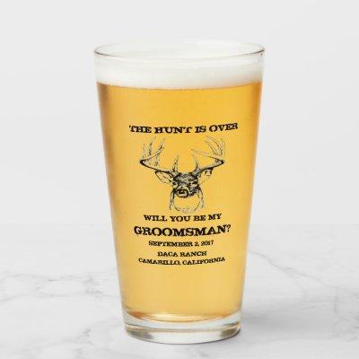 Groomsmen gifts THE HUNT IS OVER groomsmen pilsner Glass