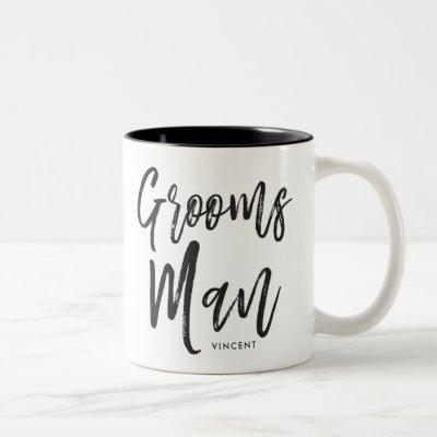 Groomsmen | Script Style Custom Wedding Two-Tone Coffee Mug