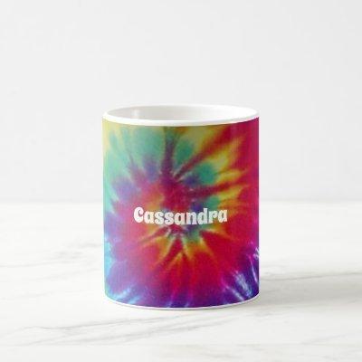 Groovy Rainbow Tie-Dye Hippie Coffee Mug
