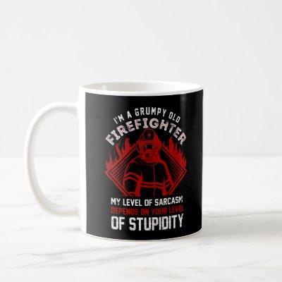 Grumpy Old Firefighter Thin Red Line Coffee Mug