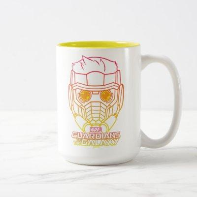 Guardians of the Galaxy   Star-Lord Neon Outline Two-Tone Coffee Mug