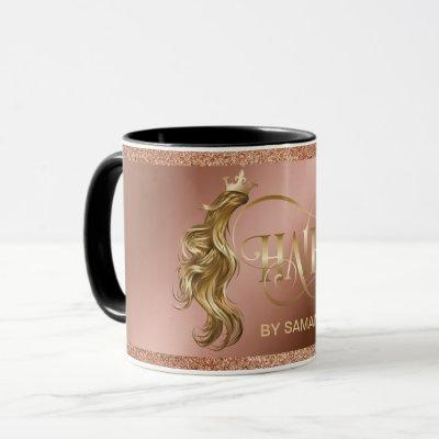 Hair stylist modern gold typography hair extension mug