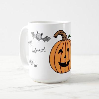 Halloween Bat and Pumpkin Coffee Mug
