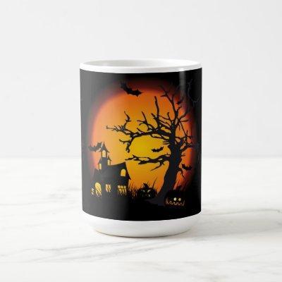 Halloween Mug/Haunted Scene Coffee Mug