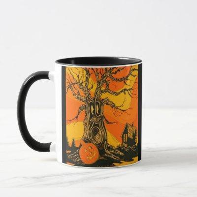 Halloween Vintage Haunted Tree Mug