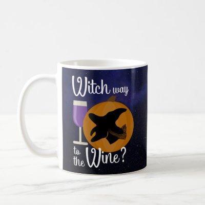 Halloween Witch on Pumpkin w Purple Wine Funny Pun Coffee Mug