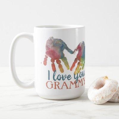 Handprints Heart Grandma Gift Square Photo Coffee Mug