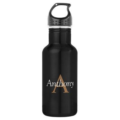 Handsome Black Modern Gold Monogram Trendy Initial Water Bottle