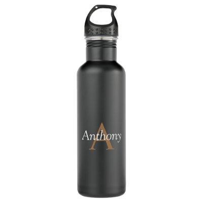 Handsome Black Modern Gold Monogram Trendy Initial Water Bottle