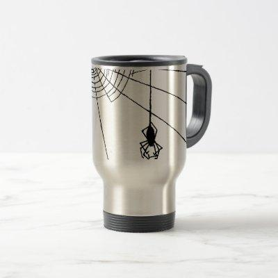 Hanging Spider in a web Gothic Halloween Travel Mug