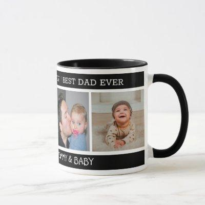 Happy 1st Father's Day Best Dad Ever 4 Photo Black Mug