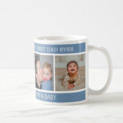 Happy 1st Father's Day Best Dad Ever 4 Photo Blue Coffee Mug