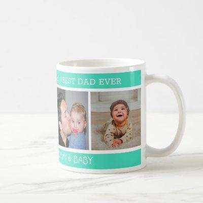 Happy 1st Father's Day Best Dad Ever 4 Photo Green Coffee Mug