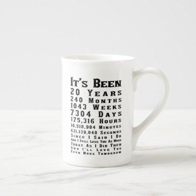 Happy 20th China Wedding Anniversary Bone China Mug