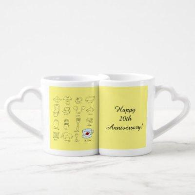 Happy 20th Wedding Anniversary Gift for Couple Coffee Mug Set