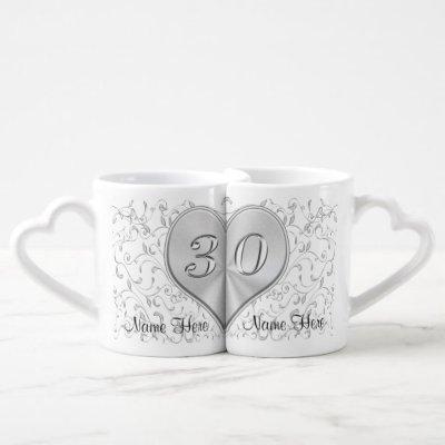 Happy 30 Year Wedding Anniversary Gift Custom 30th Coffee Mug Set