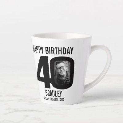 Happy birthday 40 name two photos in year mono latte mug