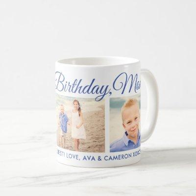 Happy Birthday Blue Script Photo Keepsake Coffee Mug
