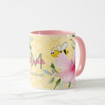 Happy bumble bees yellow honeycomb summer bossbabe mug