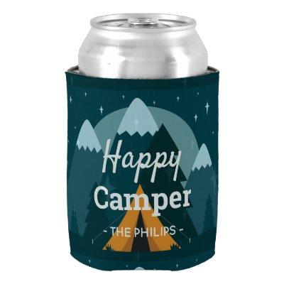 Happy Camper Tent and Mountains Can Cooler