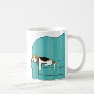 Happy Couch Beagle | Cute Sleeping Dog | Pet Art Coffee Mug