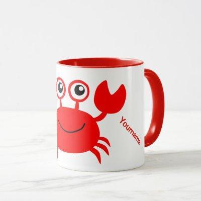 Happy Crab custom monogram mugs
