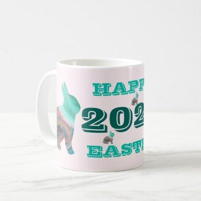 Happy Easter 2021 Blushing Bunny Mug by Janz
