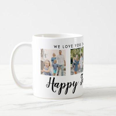 Happy Father's Day 4 Photo Custom Black Message Coffee Mug