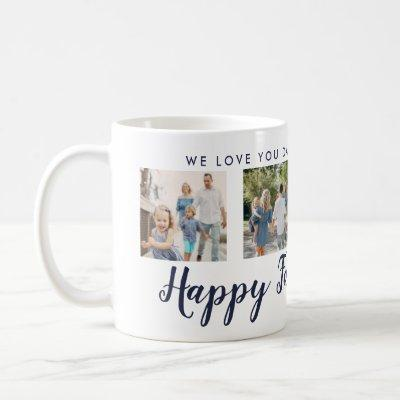 Happy Father's Day 4 Photo Custom Navy Message Coffee Mug