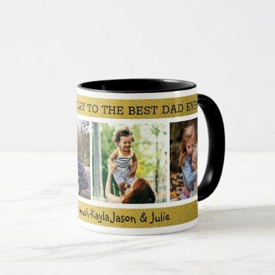 Happy Father's Day  Best Dad Ever 4 Photo Collage Mug