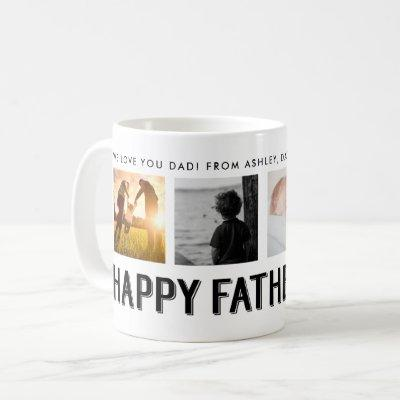 Happy Father's Day | Black and White 4 Photo Grid Coffee Mug