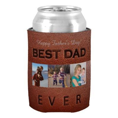 Happy Father's Day brown leather 3 photo collage Can Cooler