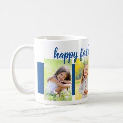 Happy Fathers Day Editable Year 4 Photo Blue Coffee Mug
