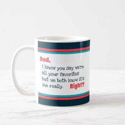 Happy Fathers Day Favorite Typography Coral Stripe Coffee Mug