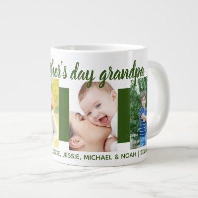 Happy Fathers Day Grandpa 4 Photo Green Giant Coffee Mug