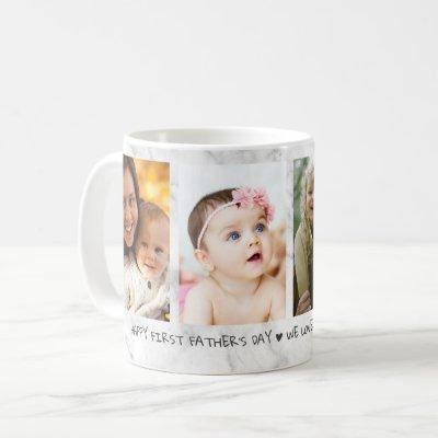 Happy First Father's Day 4 Photo Collage Marble Coffee Mug