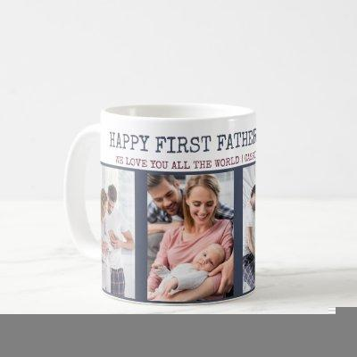 Happy First Fathers Day 4 Photo Personalized Coffee Mug