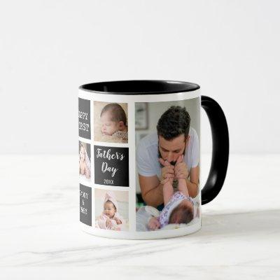 Happy First Father's Day 5 Photo Collage Black Mug