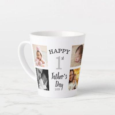 Happy First Father's Day 8 Family  Photo Collage Latte Mug