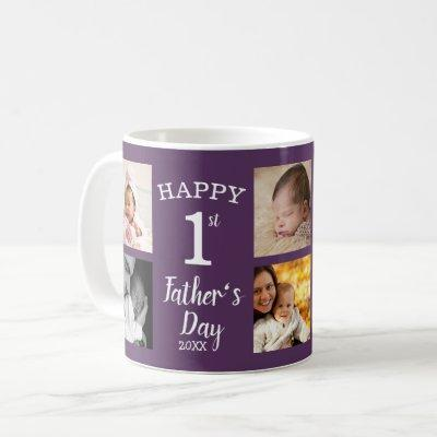 Happy First Father's Day 8 Photo Collage Purple Coffee Mug