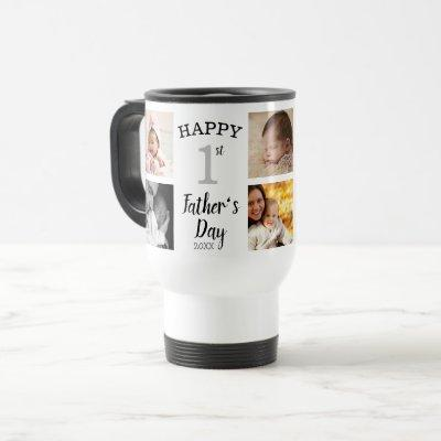 Happy First Father's Day 8 Photo Collage Travel Mug
