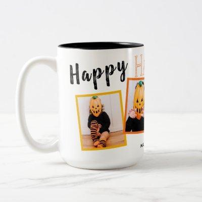 Happy Halloween Black Orange Monogrammed 4 Photo | Two-Tone Coffee Mug