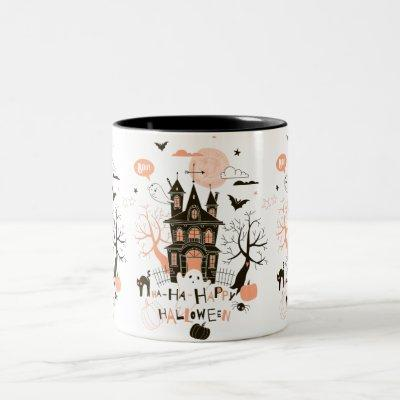 Happy Halloween Haunted House Two-Tone Coffee Mug