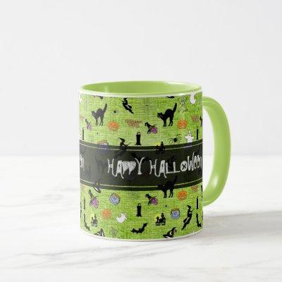 """Happy Halloween""  Random Iconic Pattern Green Mug"